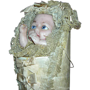 Antique - Wax Swaddling Baby Candy Container - Pull Cord & Feet Move!!! - Lace, Silk & Ribbons
