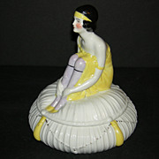 German 1920's - China Powder Box - Flapper Figure in Yellow - Marked Germany & 23175 - Rare!!!
