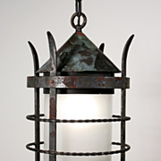 Marvelous Antique Exterior Lantern in Copper & Iron, with Glass Cylinder, c. 1910