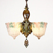 Amazing Antique Two-Light Art Deco Slip Shade Chandelier, Polychrome