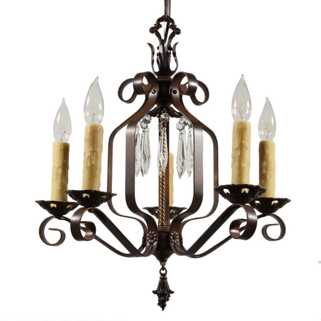 Marvelous Antique Five-Light Wrought Iron Chandelier with ...