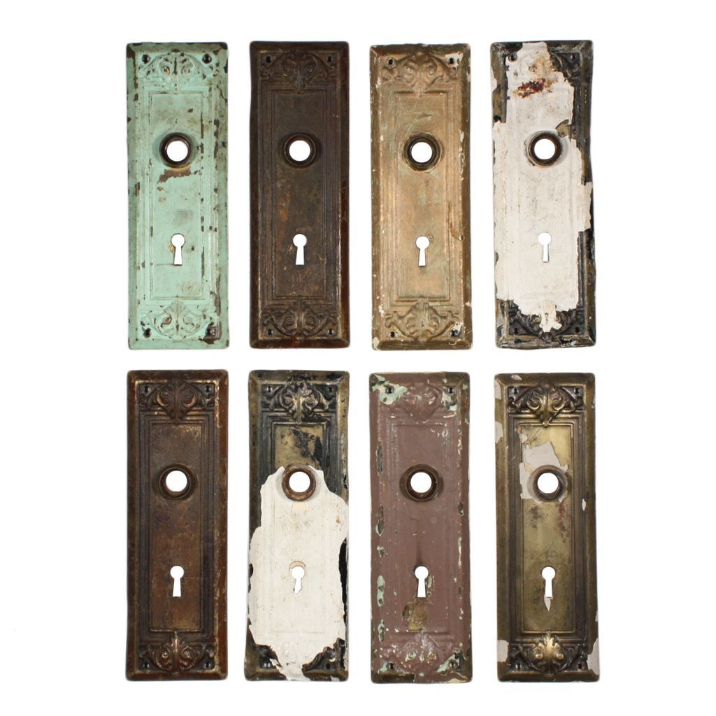 Antique arts crafts door plates with leaf design from for Craft ideas for old dishes
