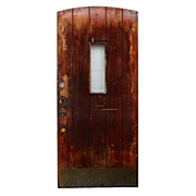 Salvaged Antique Arched Plank Door with Vertical Window