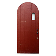 "Arched Antique Exterior 36"" Arched Plank Door with Small Window, Early 1900s"