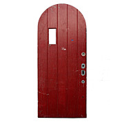 Salvaged Exterior 36� Arched Plank Door with Red Paint