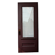 Salvaged 34� Pine Exterior Door with Dentil Trim & Beveled Glass