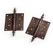 Splendid Pair of Antique Cast Bronze Lift-Off Hinges, 5�, with Decorative Design