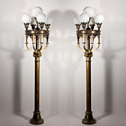 Magnificent Pair of Antique Five-Light Cast Brass Lamps with Glass Globes, 6� Tall