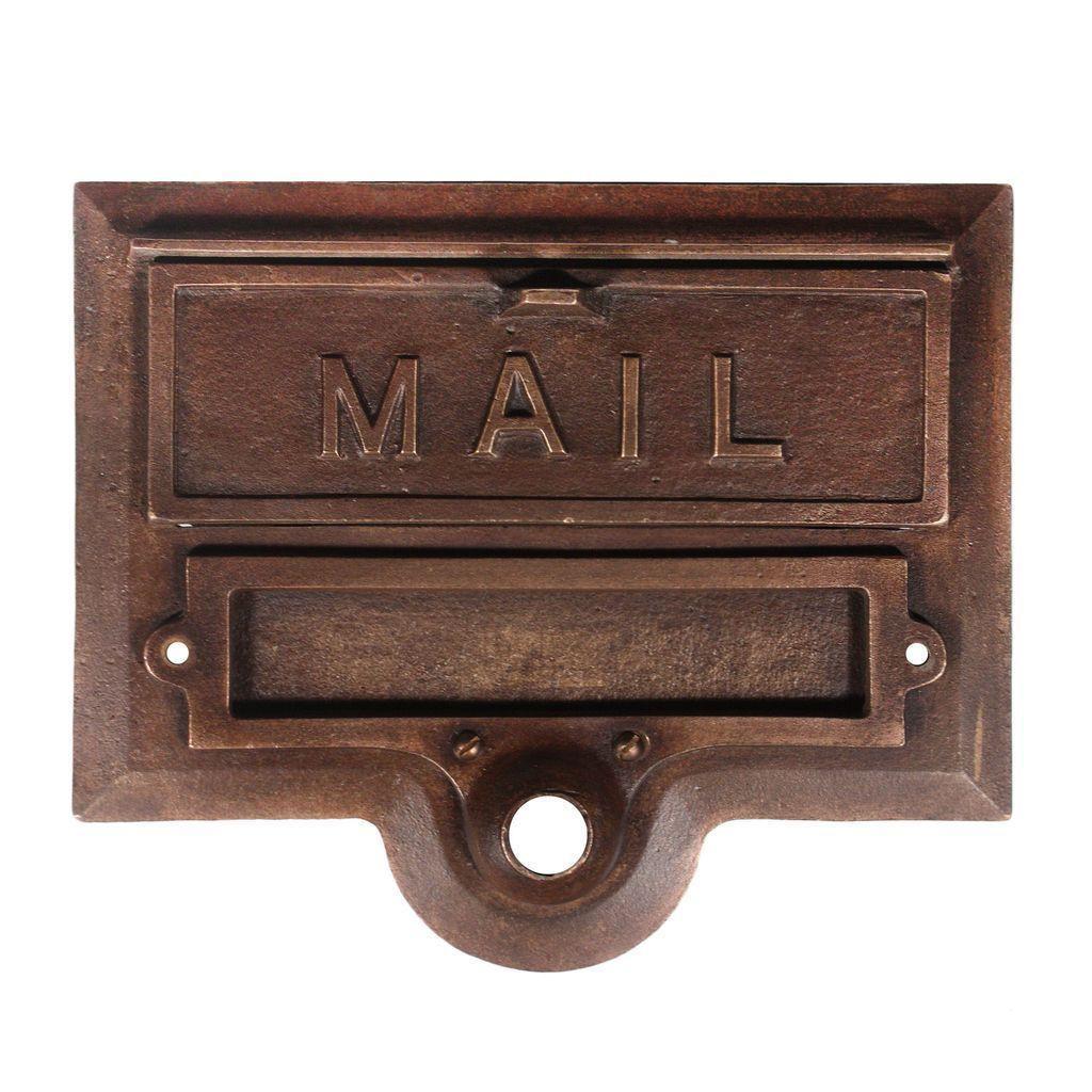 Fantastic Antique Cast Bronze Letter Slot With Name Holder
