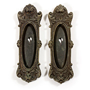 Uncommon Pair of Antique Cast Bronze Pocket Door Plates, �Dorcas� by Barrows Lock