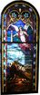 Rare William Reith Antique Figural Stained Glass Window, Angel with Shepherds & Sheep