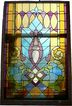 Magnificent Antique American Jeweled Stained Glass Window, Fleur-de-lis