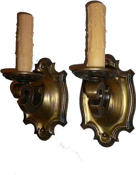 Fabulous Pair of Antique Neoclassical Cast Brass Sconces, Early 1900's