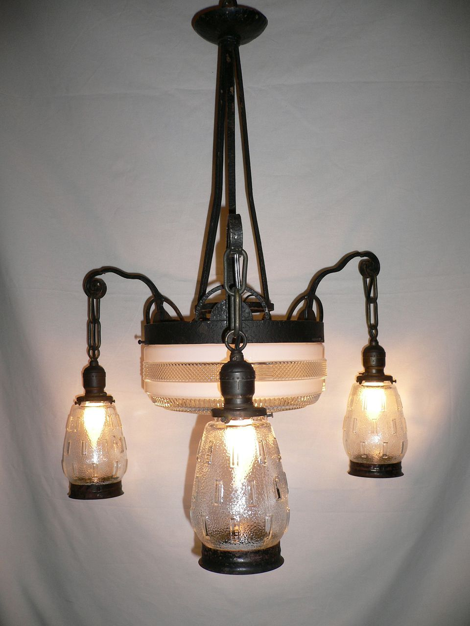 Fantastic French Art Deco Iron & Glass Antique Chandelier
