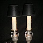 Silver Plated Pair of Antique Neoclassical Style Candelabra Lamps