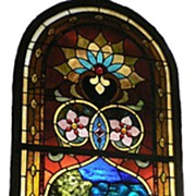Rare William Reith Antique Stained Glass Window, Virgin Mary, Chunk Jewels