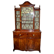An English Inlaid Secretaire Breakfront Bookcase