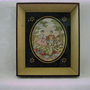 Antique 1800's Linen Canvas Needlework Stitchery Picture/Thread Painting/ Embroidered Tapestry