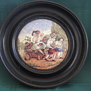 "Framed Victorian English Pot Lid "" Children Of Flora"""