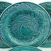 Set of Four Green Majolica Plates  8 1/2""