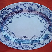 Antique 1800's Blue on White Transferware Platter by J.M.P. Bell & Co.