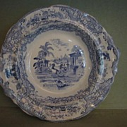 SALE Antique Early Blue Transferware Pedestal Bowl/Compote Triumphal Car J. & M. P. Bell & Co.