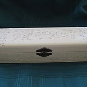 Antique Victorian Celluloid White Tie Box