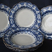 "Six 8 1/4"" Flow Blue Bowls by Sampson Hancock & Sons  Pattern ""Valencia"""
