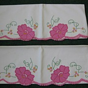 Pair of Vintage Cotton Hand Embroidered Pillow Cases