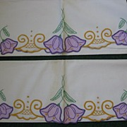 Pair of Vintage Cotton Hand Embroidered Pillowcases