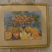 Vintage Framed Fruit Print 8&quot; x 10&quot;