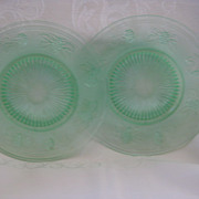 Two Green Depression Plates - Westmoreland Glass Co.