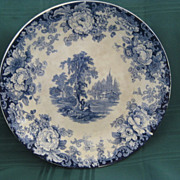 "English Blue & White Scenic 9"" Transferware Plate"