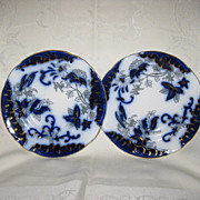 Two Matching 8&quot; Flow Blue Plates