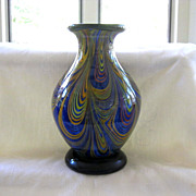 Multicolor Swirled Art Glass Vase