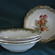 Four Porcelain China Berry Bowls 5 1/2""