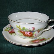 SALE Three Matching  Porcelain Victorian  Cups and Saucers   with Pink Roses