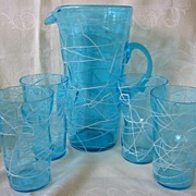 Retro Ice Tea Blue Pitcher with Four Tumblers or Glasses from 40's 50's ...