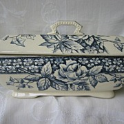 Antique Navy Blue Transferware Covered Vegetable Dish  Aesthetic Movement  Burgess and Leigh C