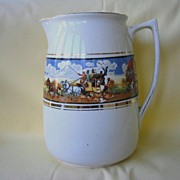 "REDUCED English Staffordshire Ceramic Pitcher  Celia Gibsons ""Dickens Days"""