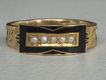 Victorian Enamel, Hair & Seed Pearl Mourning RIng, 15 ct Gold
