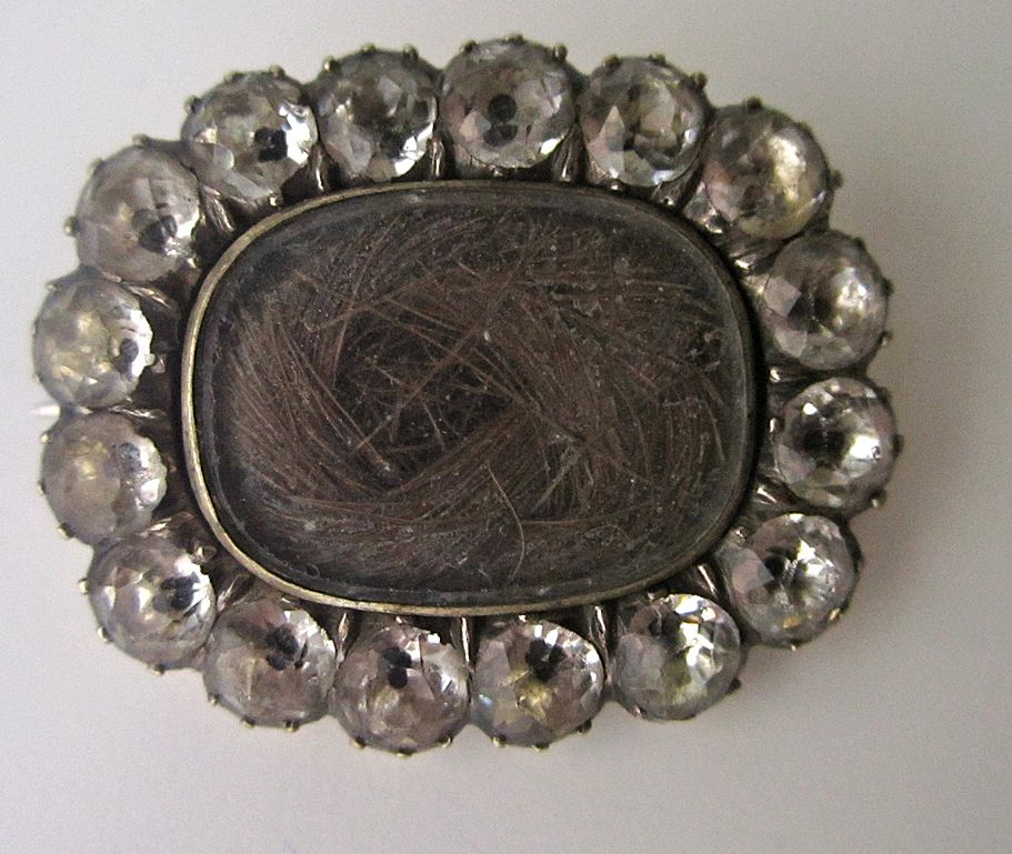 Georgian 'Black Dot' Brooch with Hair, Sentimental