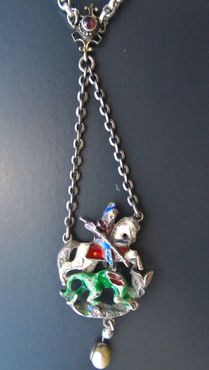St George & the Dragon Renaissance Revival Pendant, enamelled