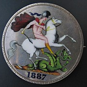 SOLD Antique Queen Victoria Silver Crown Coin, St George Brooch, 1887