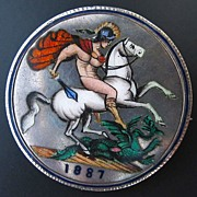 SOLD Antique Queen Victoria Silver Crown, Coin Brooch, St George, 1887