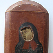 Erotic leather cigar case, French nun, late 19th  - early 20th C