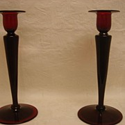 SALE Pair Selenium Red Steuben Glass Candlesticks