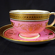 Minton Pink and Raised Gilt Tea Cup and Saucer Circa 1910