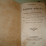 Antique French book History of the Holly Bible dated 1837