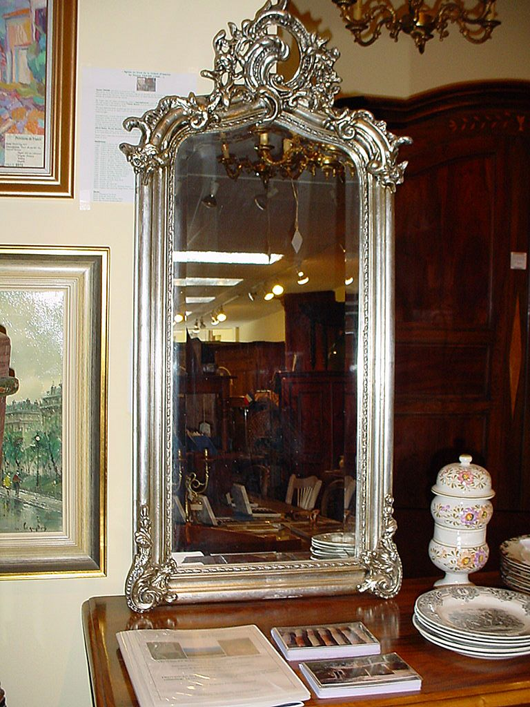 French silver Louis XV style mirror